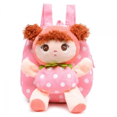 Kids Cartoon Baby Girls Cotton 3D School Bags Children Stuffed Plush Toys School Backpack Rucksack pink 23cm×25cm×7cm