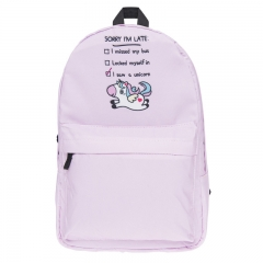 New girl schoolbag Pink Unicorn Backpack Student waterproof school bag student laptop backpack pink 27cm×42cm×10cm