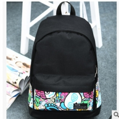 Girls Women Canvas School Bag Travel Backpack Satchel Shoulder Bag Rucksack Black colour02 30cm×45cm×18cm