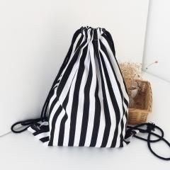 School Bag Fashion Backapcks Charming Nice Women Stripe Drawstring Beam Port Shopping Bag Travel Black and white stripes 34.5cm×40cm