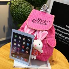 for children school bags 2 Rabbits children's backpacks Canvas Bag School knapsack rose red 26cm×13cm×37cm