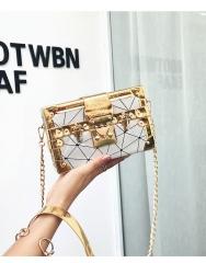 2018 new fashion mini retro small box bag female chain single shoulder bag hand case box bag gray 19cm x 5cm x 12cm