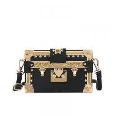 2018 new stylish Korean version pure color square small box bag lady Pu single shoulder satchel black 19cm x 5cm x 20cm