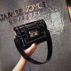 New popular wide belt female 2018 summer rivet shoulder bag Korean style bag messenger small bag black 19cm x 8cm x 14cm