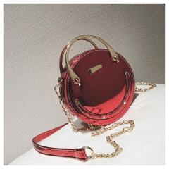 Women's 2018 new personality laser chain mini portable small round bag fashion Messenger bag red 17cm x 6cm x 17cm