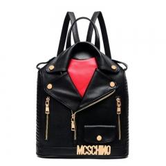Fashion Shoulder Bag PU women's backpack locomotive turndown collar leather bag schoolbag colour01 30cm x 13cm x 35cm
