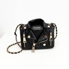 Clothes modeling bags autumn new personality bag fashion chain single shoulder bag black 20.5cm x 11cm x 18.5cm