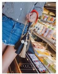2018 spring new mini triangle tassel geometric single shoulder Handbag dumplings modeling bag black 18cm x 17cm x 17cm