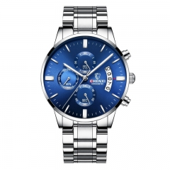 CHENXI new multi-function watch calendar luminous waterproof men's wrist watch wrist steel band 907 blue diameter:43mm