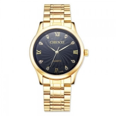 Men's fashion non-mechanical watch business watch steel strap quartz watch 013 full gold IPG plating black diameter:39mm