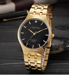 Ultra-thin steel belt casual waterproof couple watch men's fashion women's quartz watch 055B/Male black free size