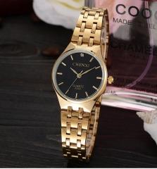 Ultra-thin steel belt casual waterproof couple watch men's fashion women's quartz watch 055B/Female black