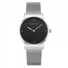 2018 CHENXI new watch Valentine's Day gift mesh belt couple waterproof simple watch 8202/Female black