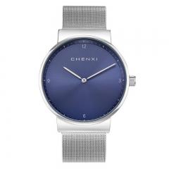 2018 CHENXI new watch Valentine's Day gifts mesh belt couple watch waterproof simple watch 8202/Male blue free size