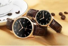 Quartz men's ultra-thin Korean style leather belt men's watch waterproof 067A/Female black