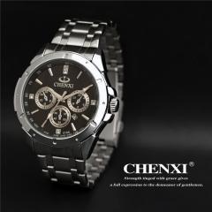 CHENXI men's steel belt calendar business non-mechanical watch waterproof men's watch 019A calendar black diameter:42mm