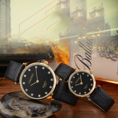 Ultra-thin durable watches for men women students simple fashion waterproof quartz watch 072C/Female black