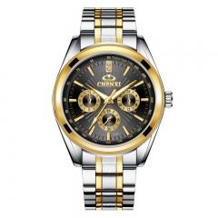 CHENXI men's watch classic diamond three-eye decorative watch steel belt quartz watch 018A gold black diameter:39mm