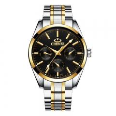 CHENXI watches men's fashion steel belt watch IP vacuum plating watch quartz watch 006B black diameter:40.5