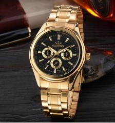 Watch men's high grade watch steel belt quartz watch waterproof business gold watch 018IPG plating black free size