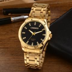 Fashion watch non-mechanical men's sports watch quartz watch business gold watch male 050C full gold black diameter:40.5