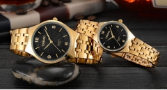 CHENXI ultra-thin steel belt casual waterproof couple men's fashion trend quartz watch 055A/Female black