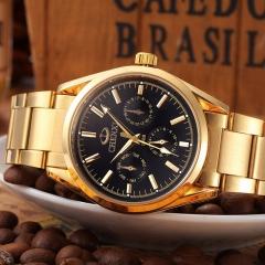 Steel belt men's waterproof casual black non-mechanical watch fashion trend gold quartz watch 006B black diameter:40mm