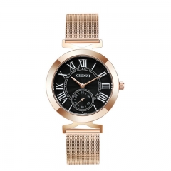 CHENXI new watch rose gold wrist watch retro Rome elegant women's watch 091A black