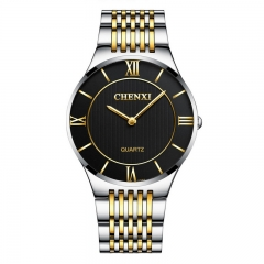 CHENXI lovers gifts watch men's gold watch ultra-thin couple watch waterproof 030A/Male black diameter:39mm