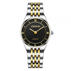 CHENXI lovers gifts watch men's gold watch ultra-thin couple watch waterproof 030A/Female black