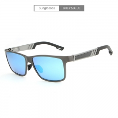 Men's sunglasses half aluminum magnesium color polarizer driver's sunglasses A6560 outdoor sports grey&blue free size