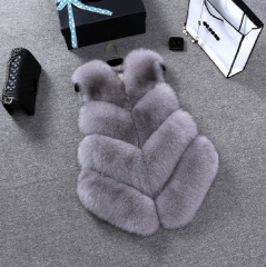 2018 new imitation fox fur grass vest women's fur short wool vest gray S