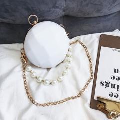 2018 new pearl bag mini round bag chain bag evening bag acrylic small round bag white 13cm x 13cm x 4cm