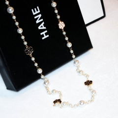 Fashion can be circled imitation pearl camellia temperament sweater chain long necklace female picture color 78cm