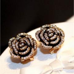 Exquisite inlaid rhinestone drop oil camellia earrings earrings female photo color 2.2cm×2.2cm