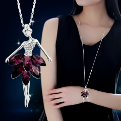 Ballerina Girl Sweater Chain Crystal Accessories Necklace Clothes Ornament Pendant Purple red 80cm