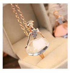 Ballerina Girl Necklace Crystal Full Diamond Sweater Chain Jewelry Pendant white 70cm