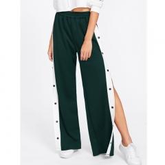 Side loose wide leg pants sports wind casual pants side open button button pants trousers dark green s