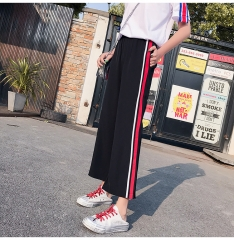 Side slit striped wide-leg pants elastic nine points casual loose horn straight pants red m