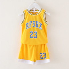 Children's basketball training suit yellow 90cm
