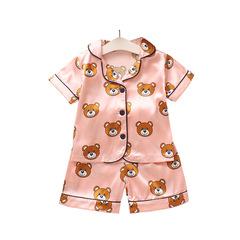 Summer children's pajamas bear cartoon home service two-piece Pink 80cm