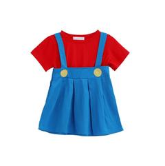 Cosplay Super Mary Boys and Girls Two-Piece Set Female 90cm