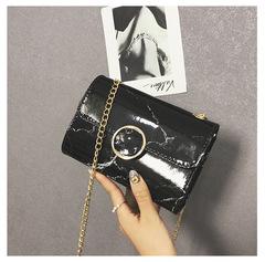 Fashion casual bright chain small square bag black 18cmx12cm