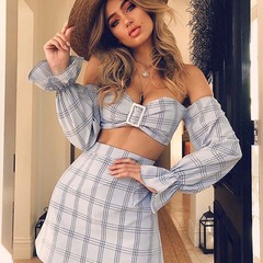 Trumpet plaid sleeve two-piece blue s