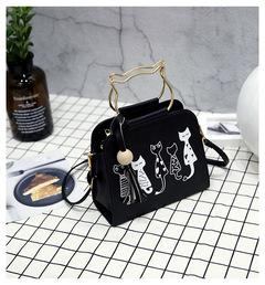 Fashion tassel mezzanine portable small square bag black 20cmx18cmx9cm