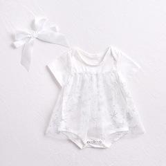 Net yarn cotton triangular dress white 66cm
