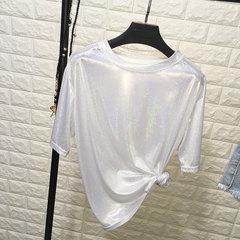 Loose Flash Reflective Short Sleeve T-shirt white one size