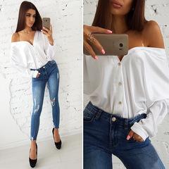 V-collar button long sleeve sexy tops white s