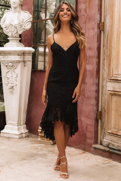 Swallow-tailed lace mid-length dress s black