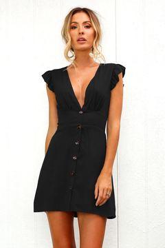 V-collar button design waist dress s black